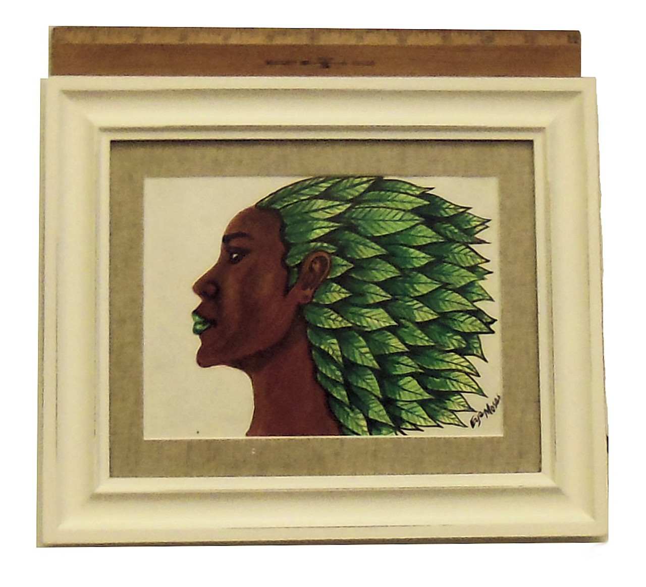 """""""I Am Growth""""  Framed oil paint on paper.  Zimbabwe Collection"""