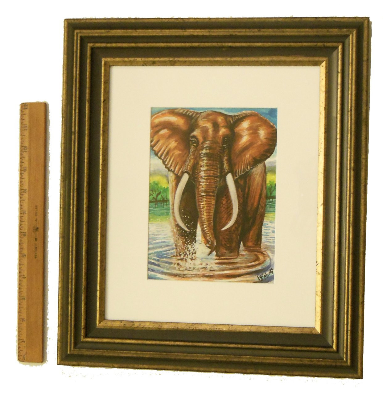 Gracious Elephant Squirting Moments.  Framed oil paint on paper.  Zimbabwe Collection