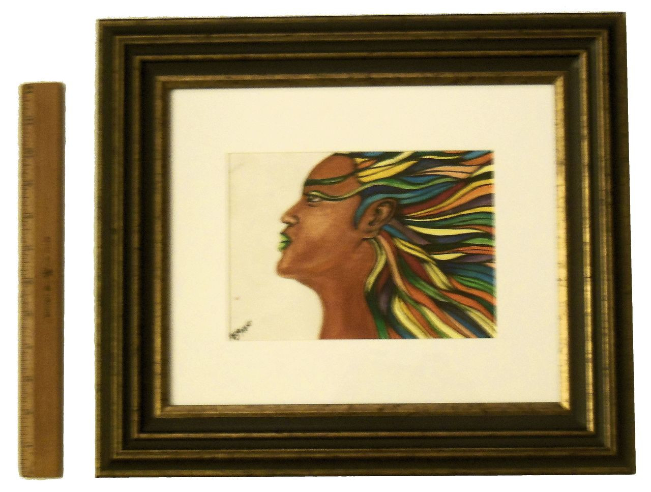 I Am Diversity (Colorful leafy hair).  Framed oil paint on paper.  Zimbabwe Collection