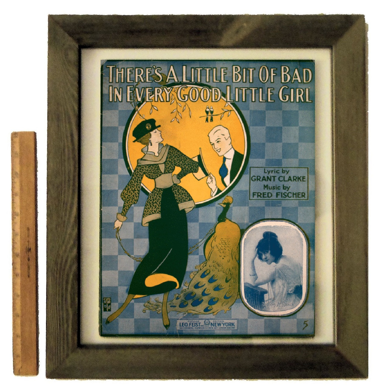 """""""There's a Little Bit of Bad in Every Good Little Girl"""" by Fred Fischer, framed vintage sheet music"""