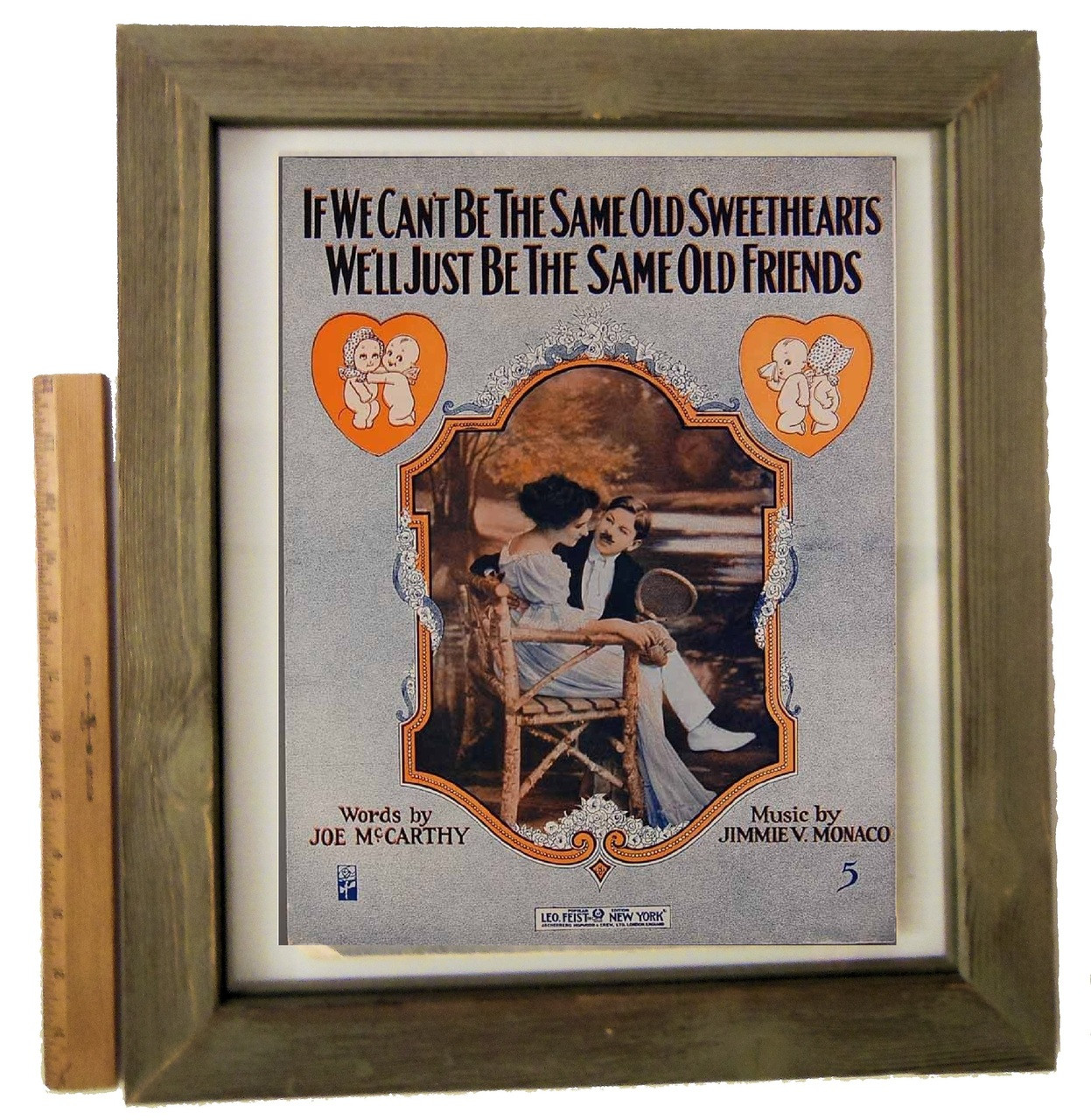 If We Can't Be the Same Old Sweethearts, We'll Just Be the Same Old Friends: Vintage sheet music, framed.