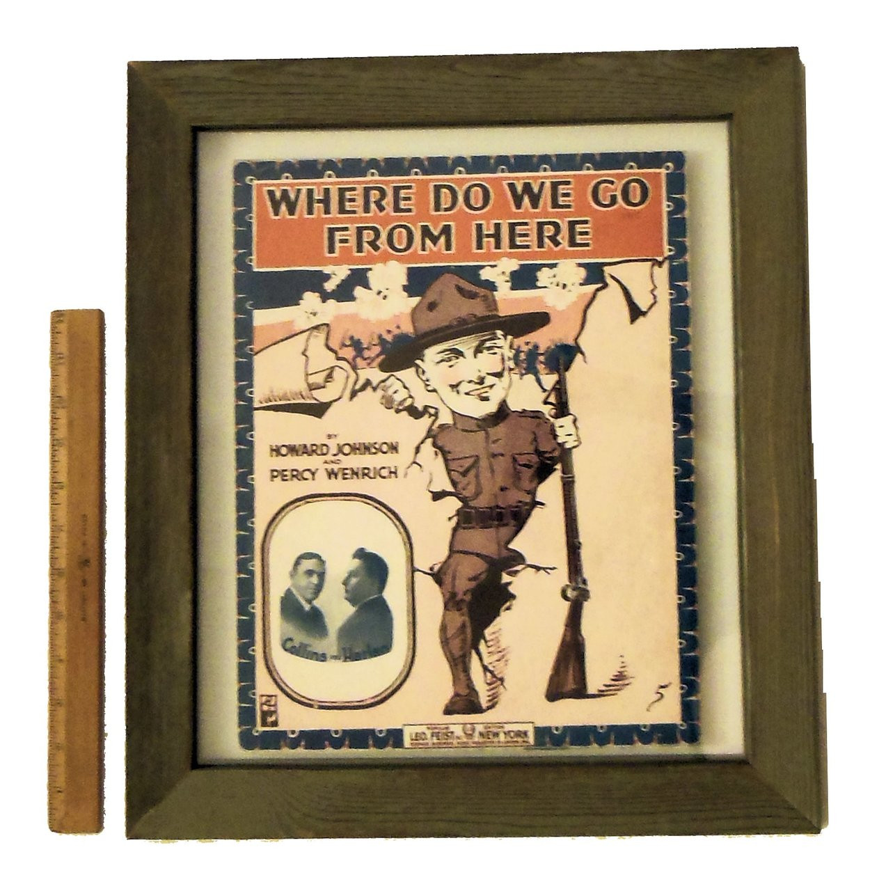 Where Do We Go From Here? by Howard Johnson and Percy Weinrich. Vintage sheet music, double sided frame.