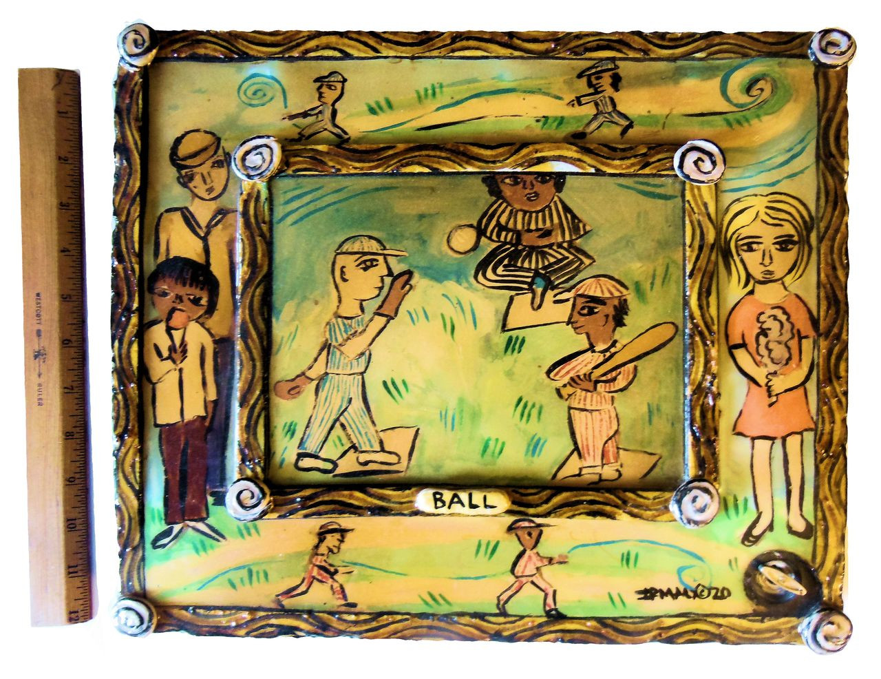 Irmaly Brackin, folk art, baseball hanging wall art with music box ...