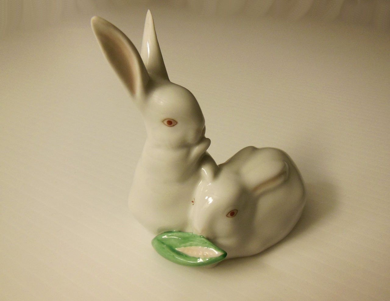 Herend Hungary Easter Porcelain Figurine: White Pair of Rabbits Eating Ear of Corn
