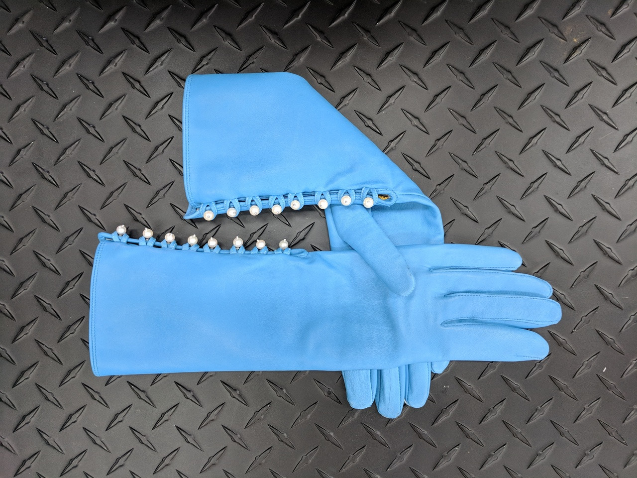 Blue Handmade Leather Gloves, Genuine Pearl Buttons, Love & Gratitude lining