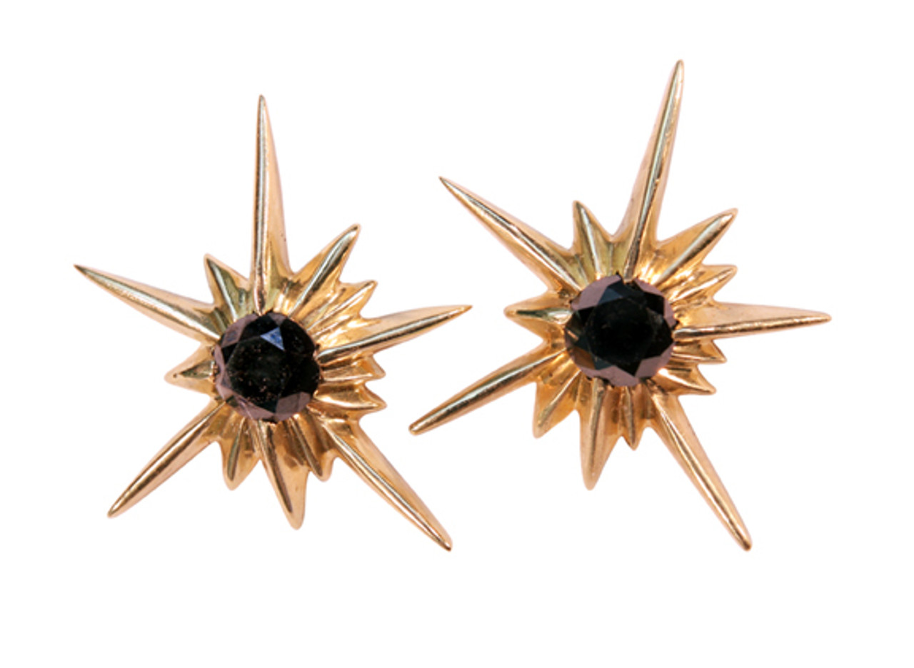 Star Earrings-Solid Stars-18K with black diamonds