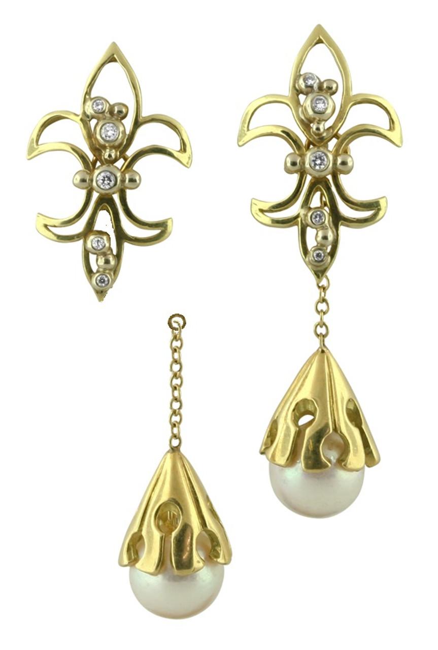 Fleur De Lis Earrings-18K