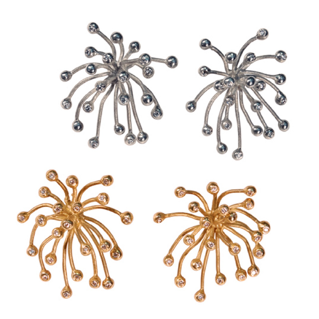 Fireworks Jewelry Collection.  The Superstar Earrings- shown here in silver and gold, with diamonds.