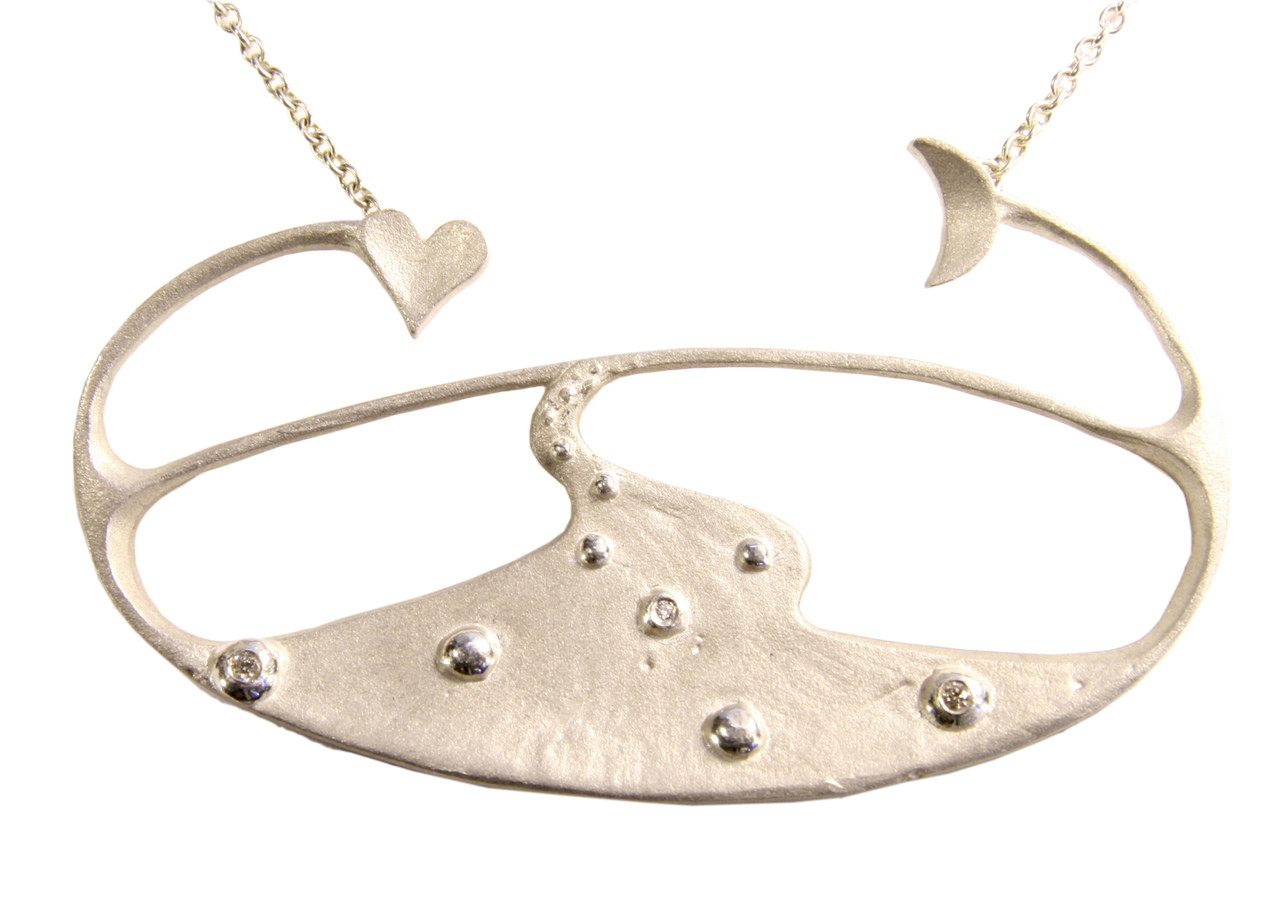 Moon River Necklace in sterling silver with diamonds