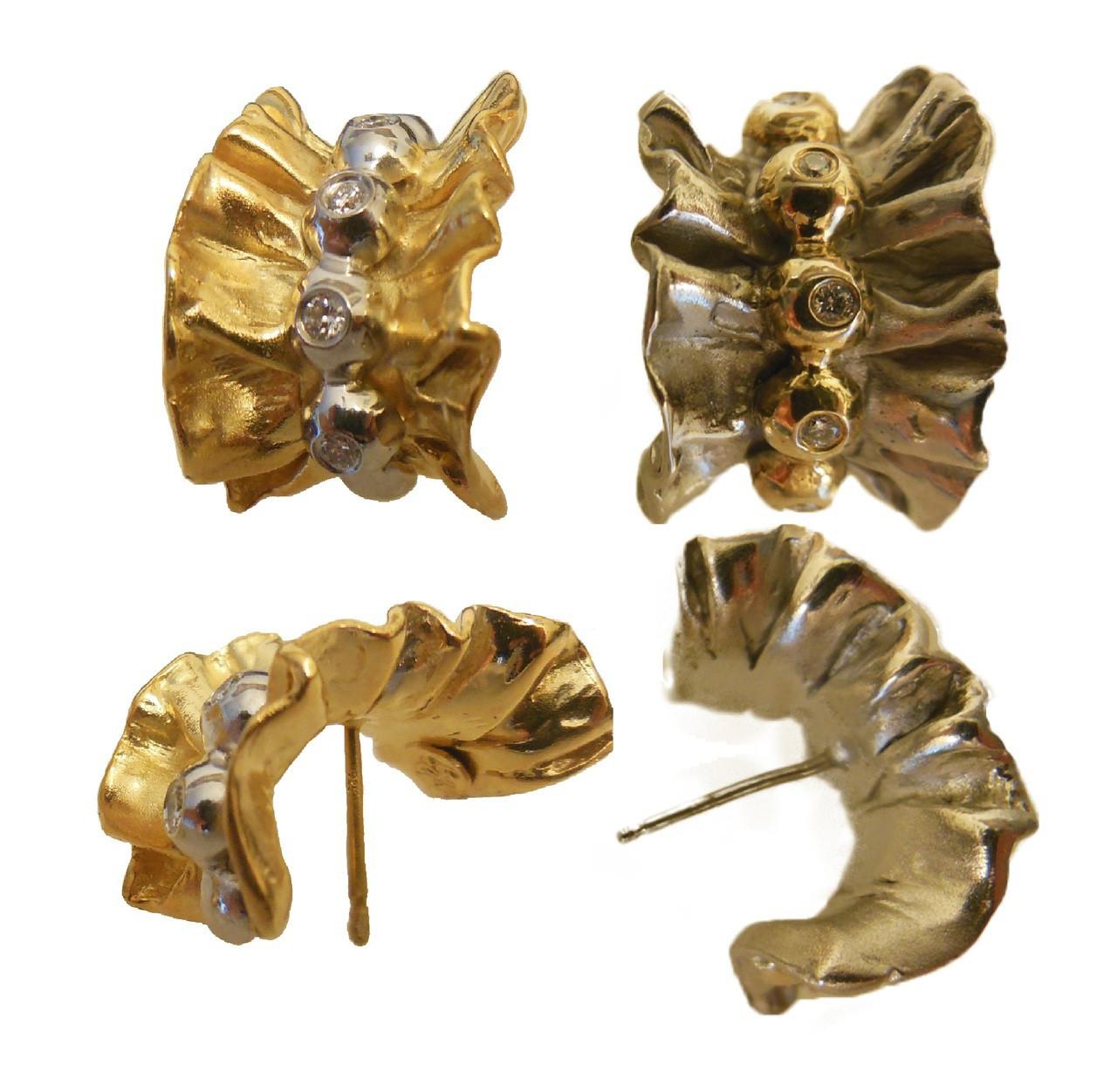 Ruffle Earring- Sterling, gold plate, diamonds.