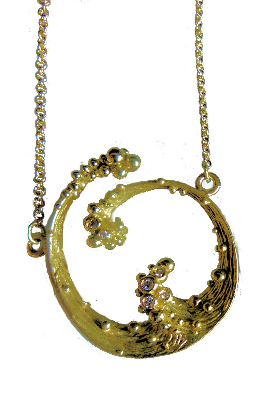 Ocean Necklace-Small-18K gold with diamonds