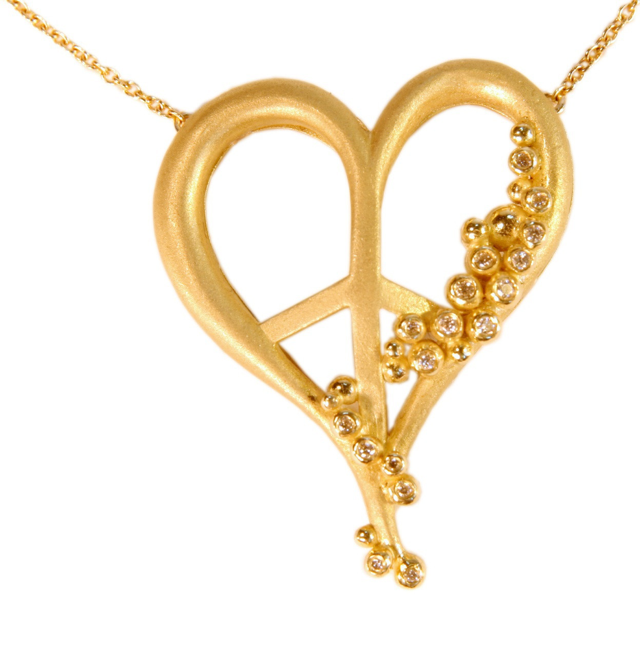 Peace of Heart necklace-large-18K gold with diamonds