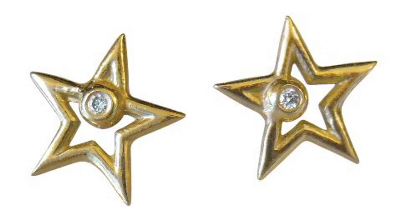 Star Stud Earrings-open-18K gold with diamonds