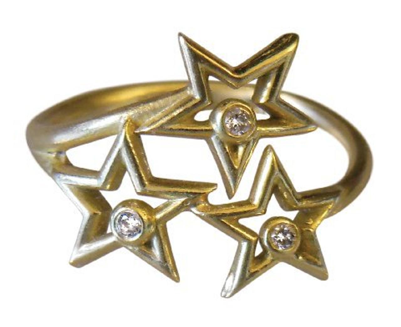 Stars Ring-18K gold with diamonds