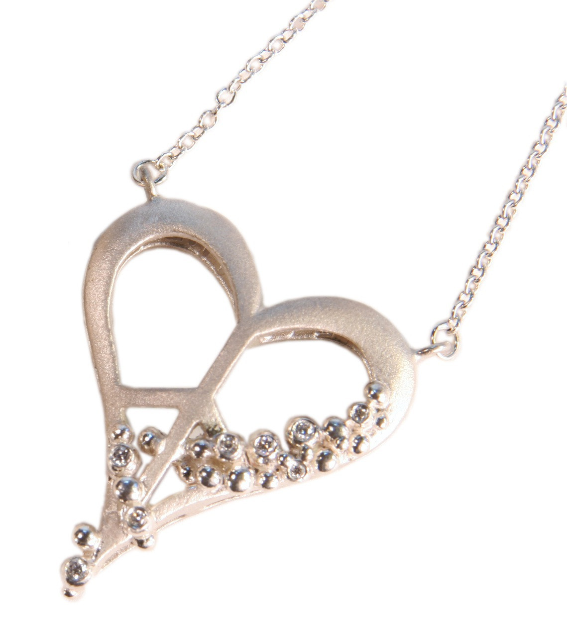 Peace of Heart Necklace- Small- Sterling Silver with diamonds