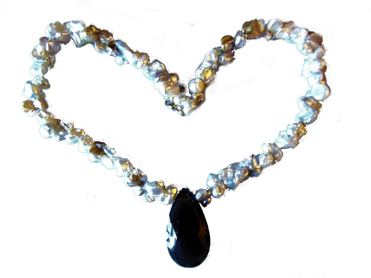 Smoky briolette on crazy keshi pearls