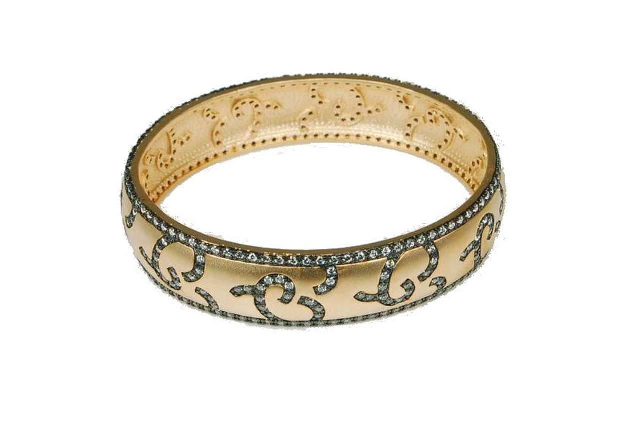 Bologna. Black, Gold & Sparkle-Oval bangle (sterling, 18K, cz)