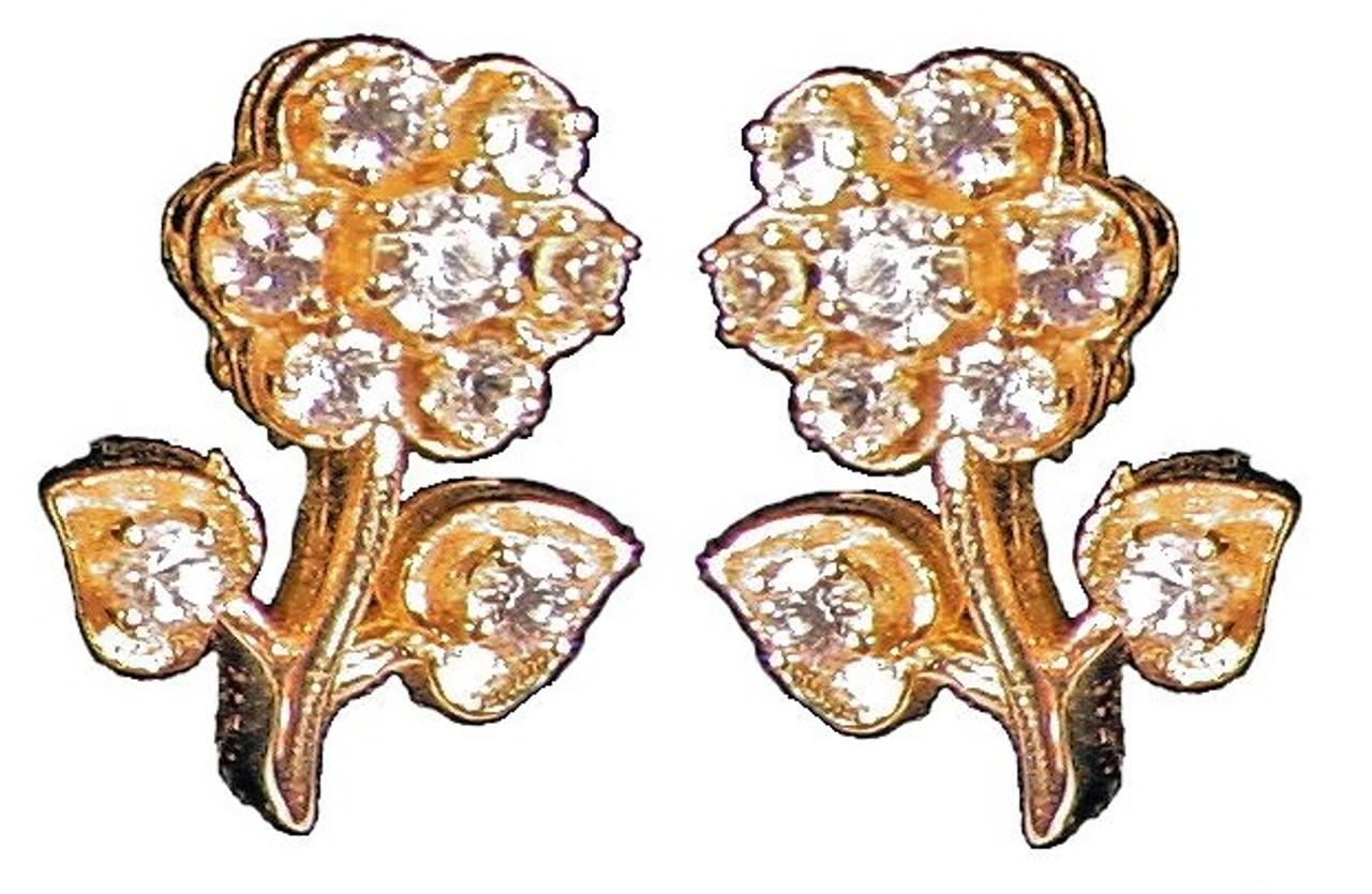 Stem Flower Earrings-18K and diamonds