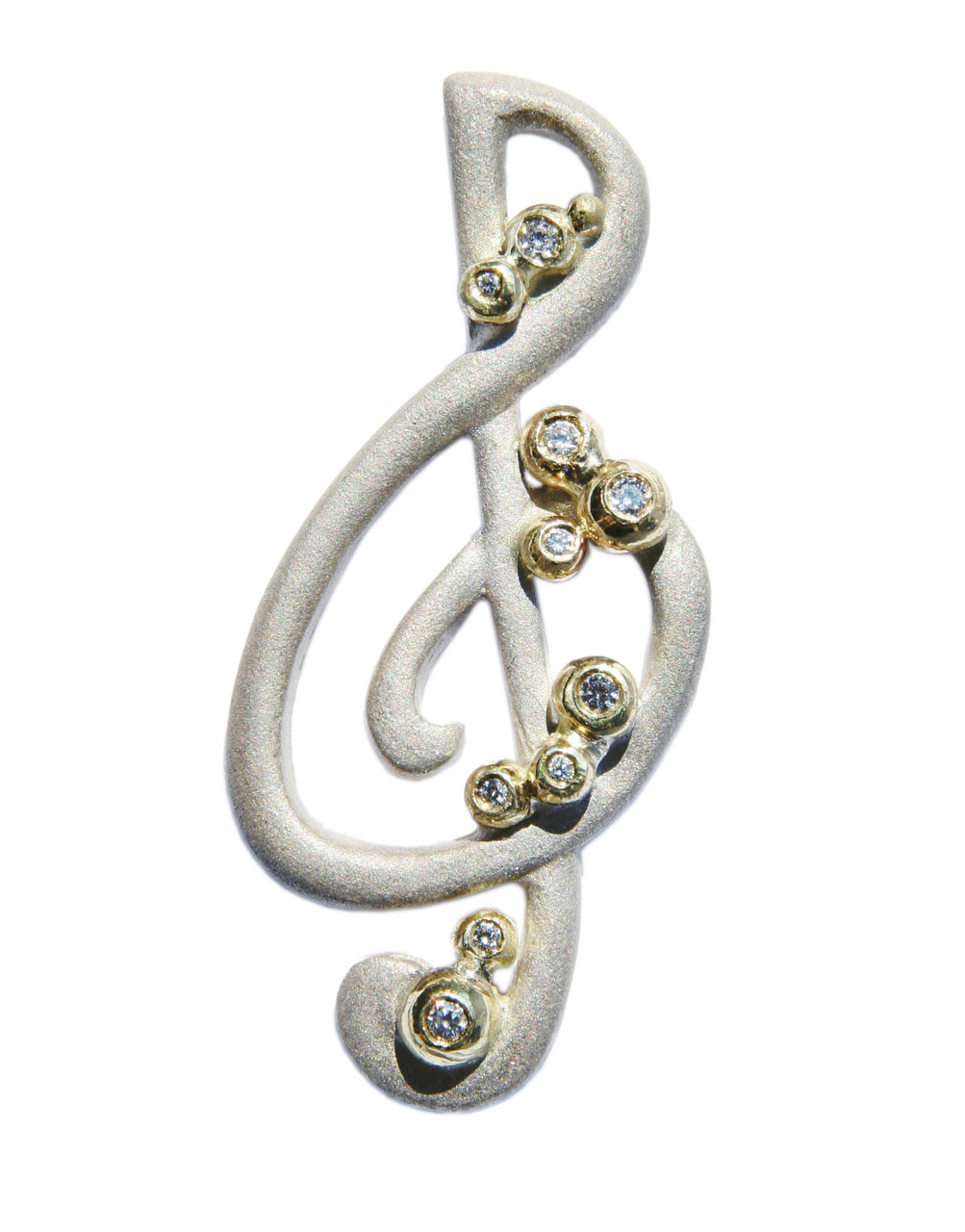 Treble Clef pendant-Sterling Silver with solid 18K gold dots of diamonds
