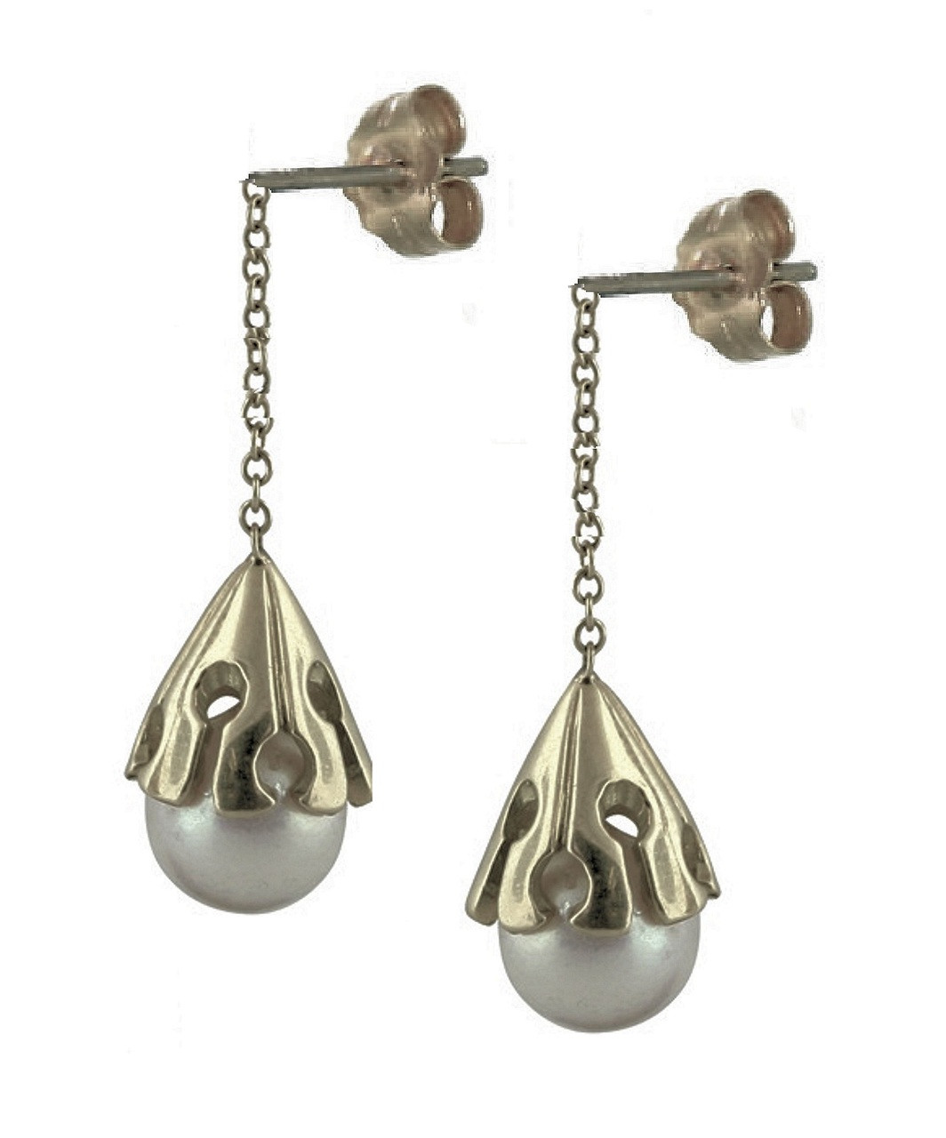 Akoya pearl drop earring-Sterling with plate options
