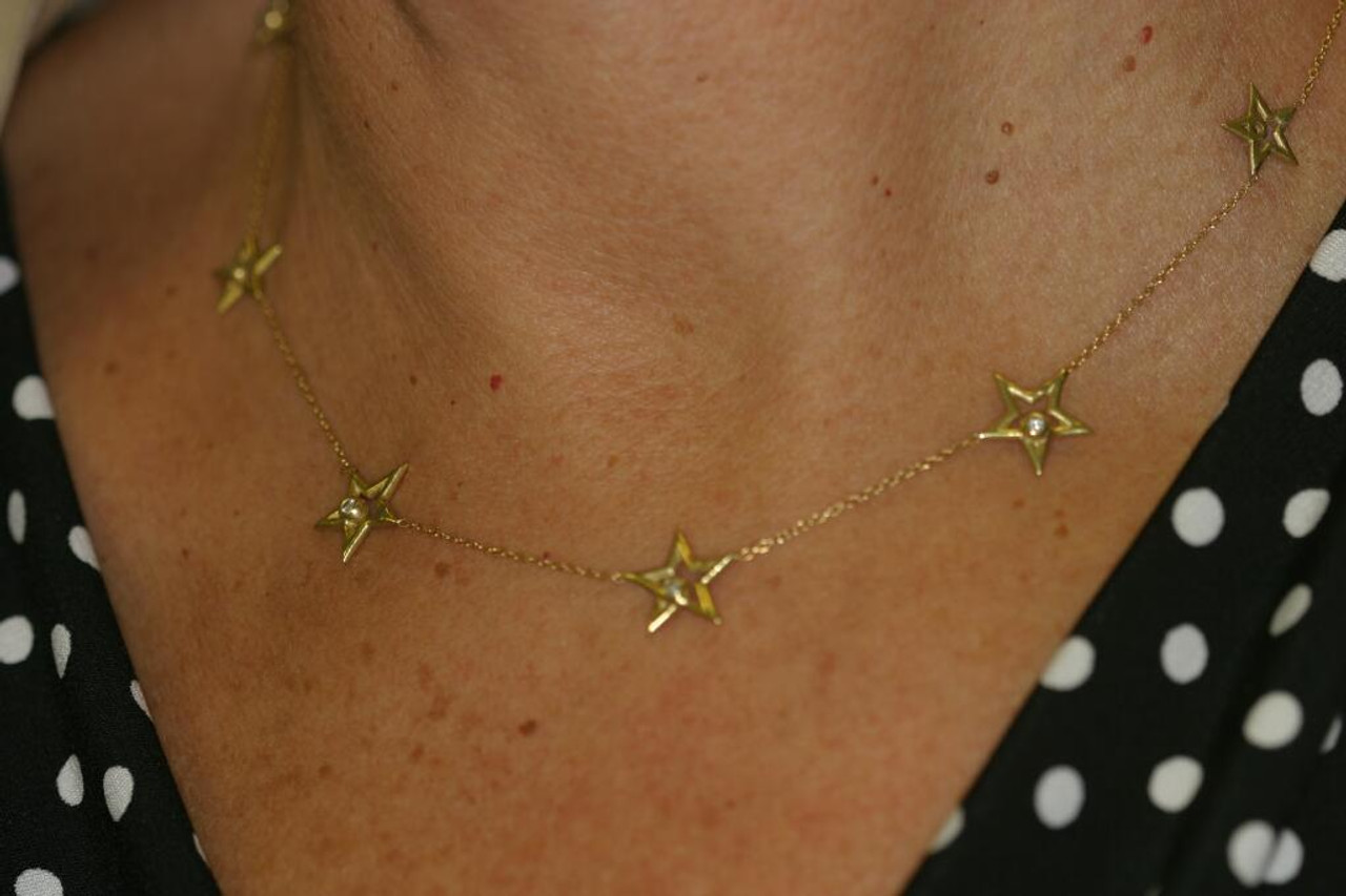 Stars-Chain of Stars Necklace-14K gold with diamonds
