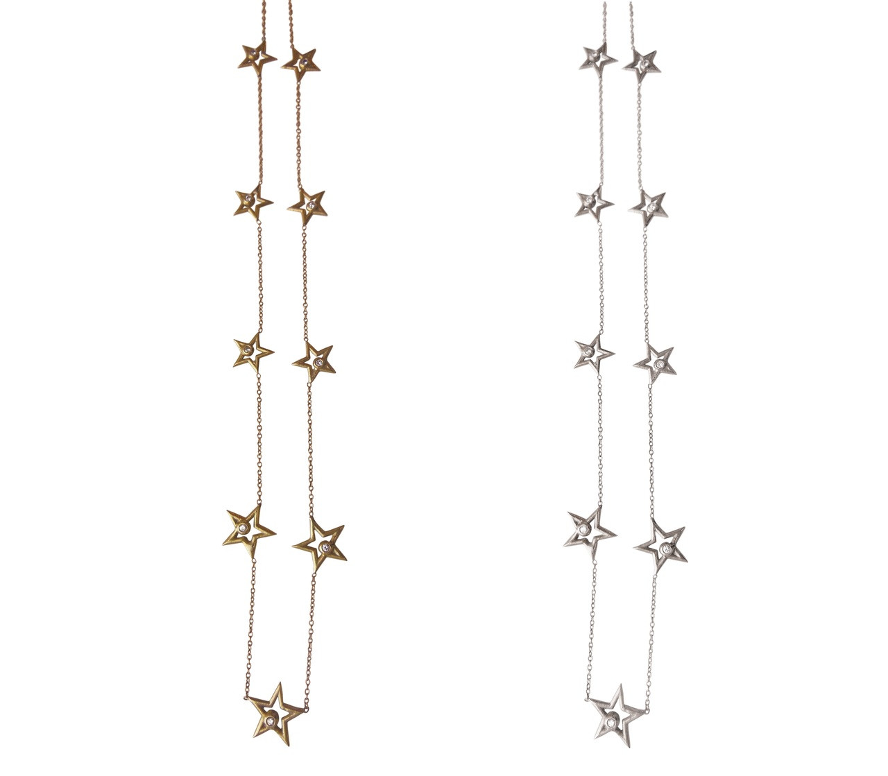 Stars-Chain of Stars Necklace-Sterling with plate options
