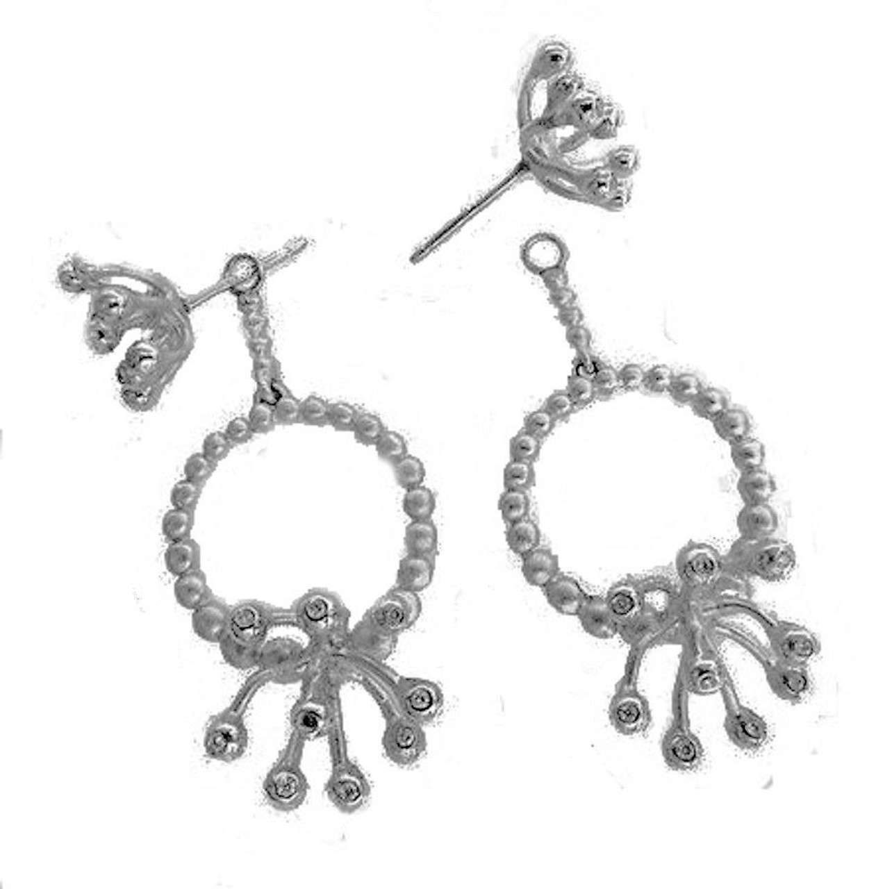 Circle Fireworks Earrings with detachable drops so the studs can be worn alone or with different drops. Shown here in silver and diamonds with the two parts separated.