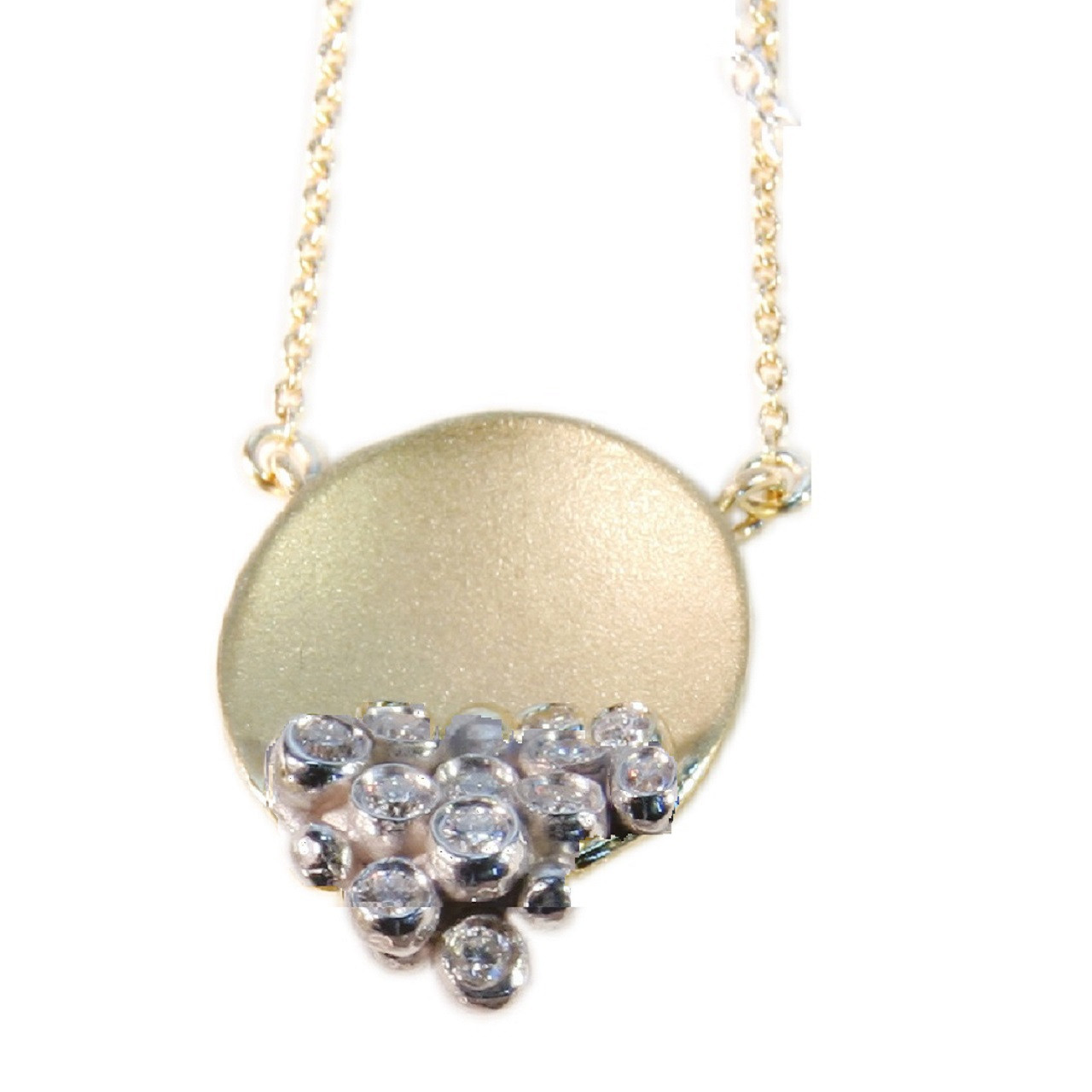 The Bowl of Overflowing Diamonds Diamond necklace in silver and/or gold (solid or plate) with diamonds.   Shown here in gold with silver dots of diamonds.
