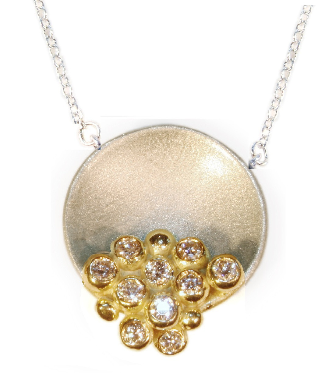 The Bowl of Overflowing Diamonds- aka Palm Beach, shown here in silver and gold.  This can be solid gold or gold plate.