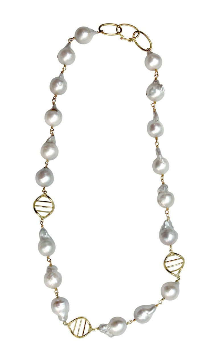 DNA Necklace-18K with pearls