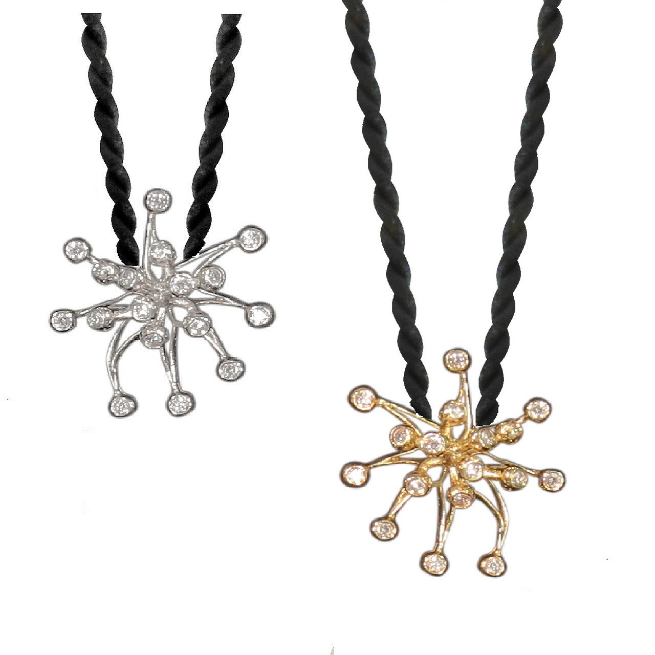 Fireworks pearl enhancers shown on cords.  Silver, white gold, yellow gold, gold plate - these can be made any way you want.  That the advantage of buying directly from the artist.