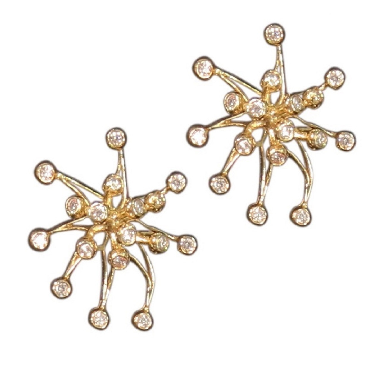 Fireworks Earrings-Large-14K gold with diamonds