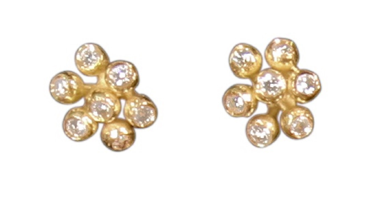 Fireworks earrings shown here close together in gold.