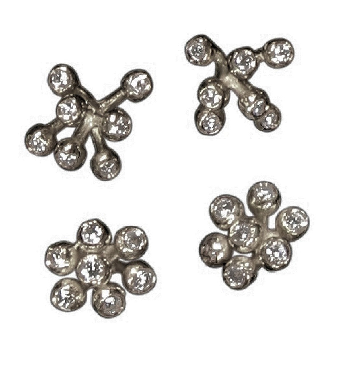 Fireworks-7 Earrings-Sterling Silver with diamonds - plate options