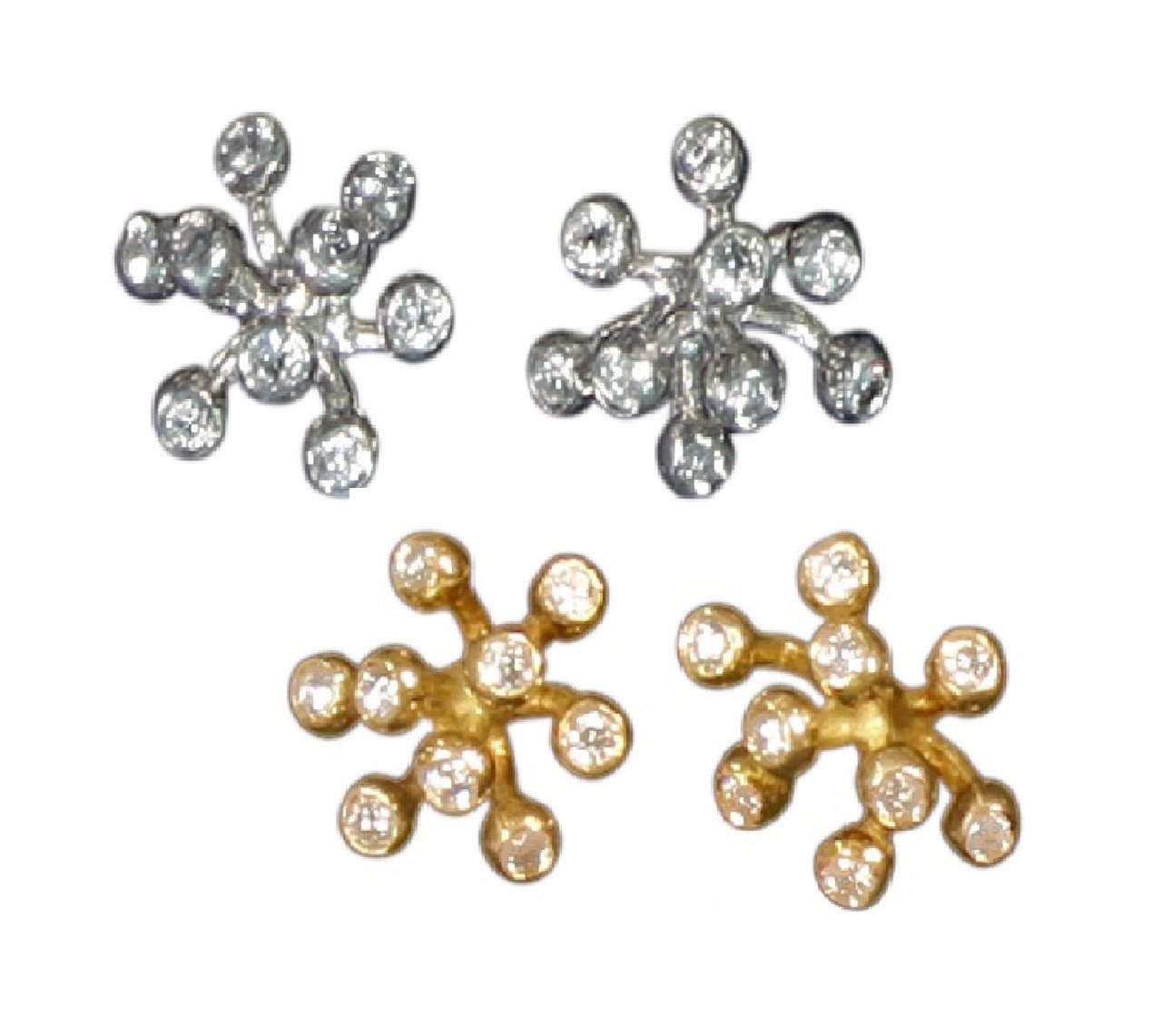 Fireworks Earrings- 9 diamonds in each ear- shown here in silver and gold.