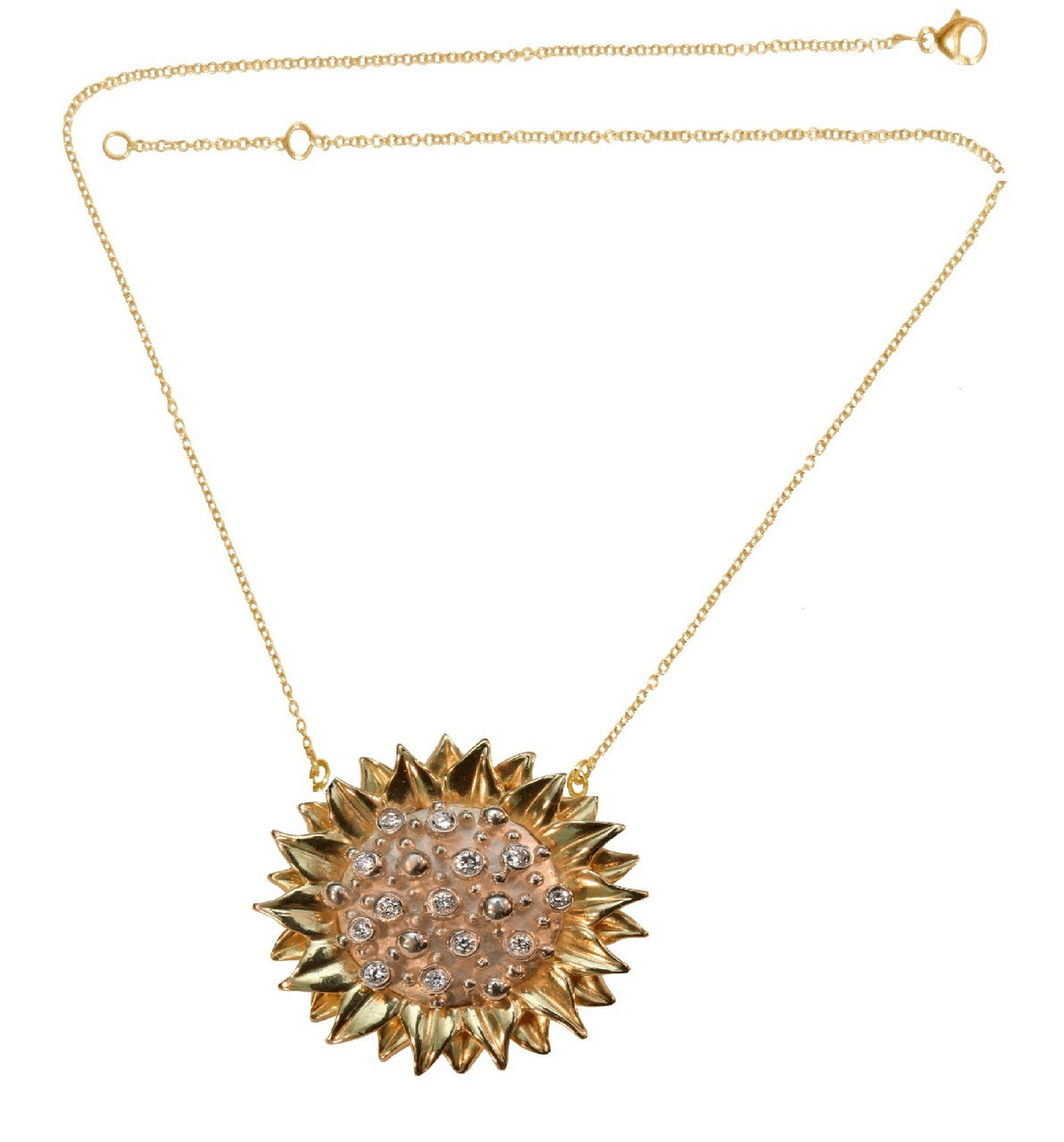 Sunflower pendant/ enhancer-Sterling with only 1 diamond