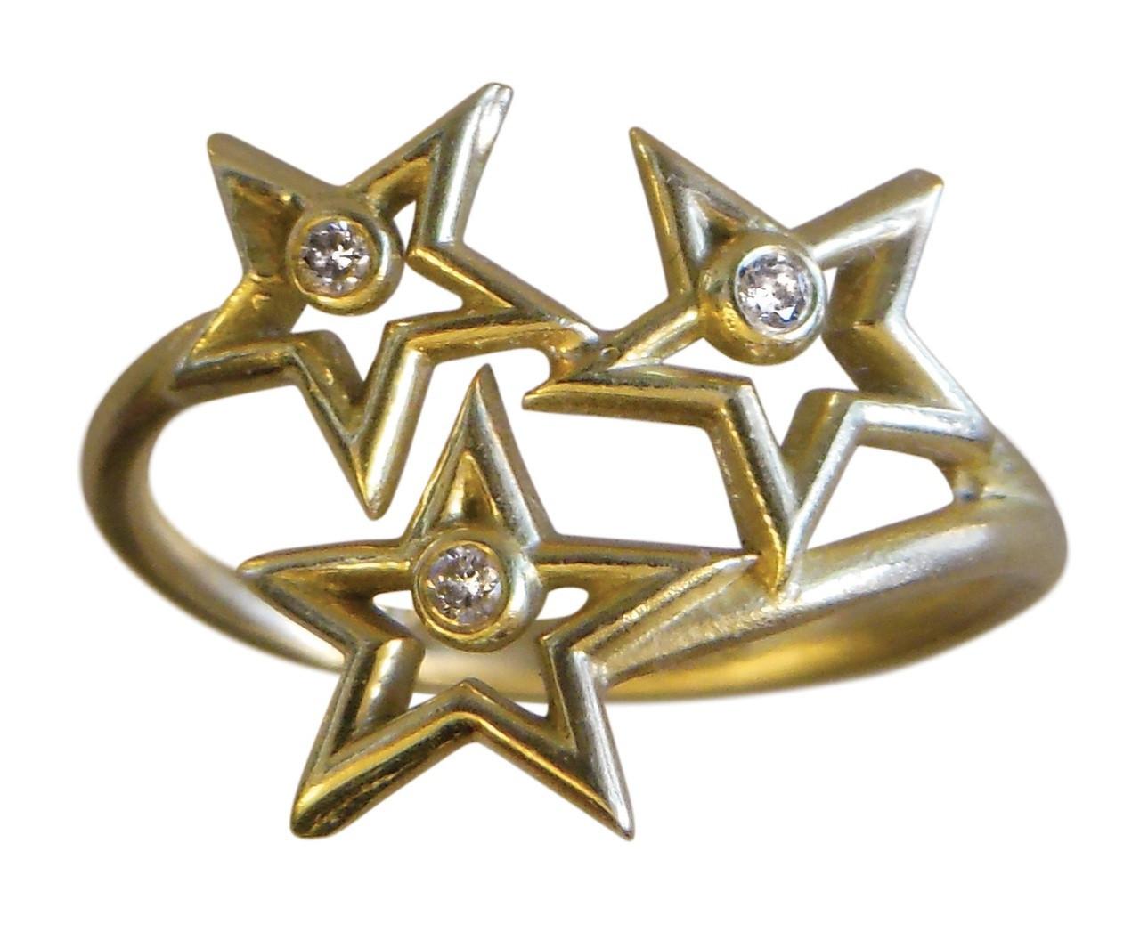 Stars Ring-14K gold with diamonds