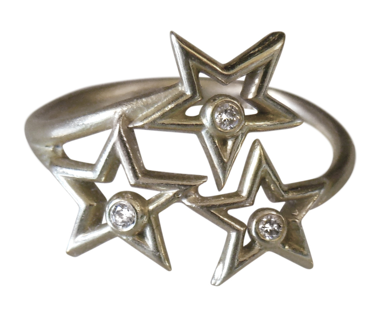 Stars Ring- Diamonds and sterling silver with plate options