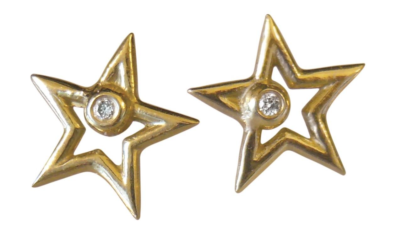 Star Stud Earrings-open-14K gold with diamonds