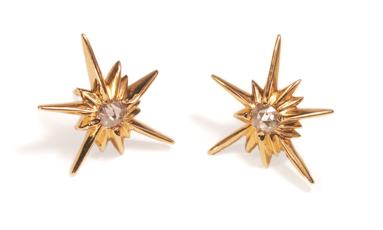 Star Earrings-Solid Stars-18K with diamonds
