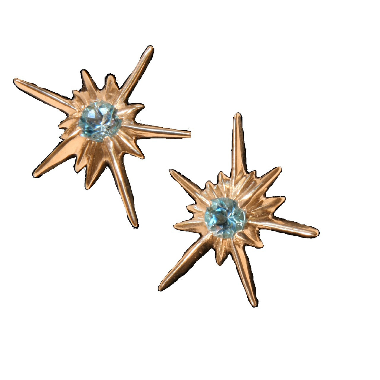 Star Earrings-Solid Stars-Sterling with Semi Precious Stones