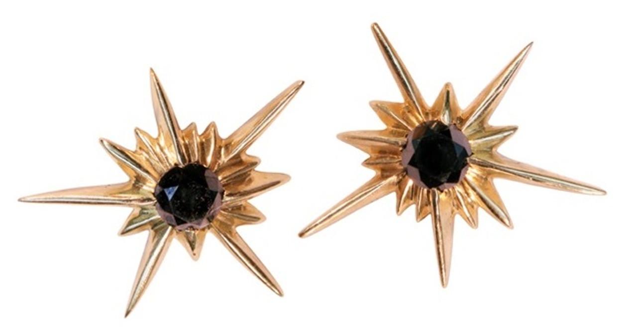 Star Earrings-Solid Stars-14K with black diamonds or semi-precious