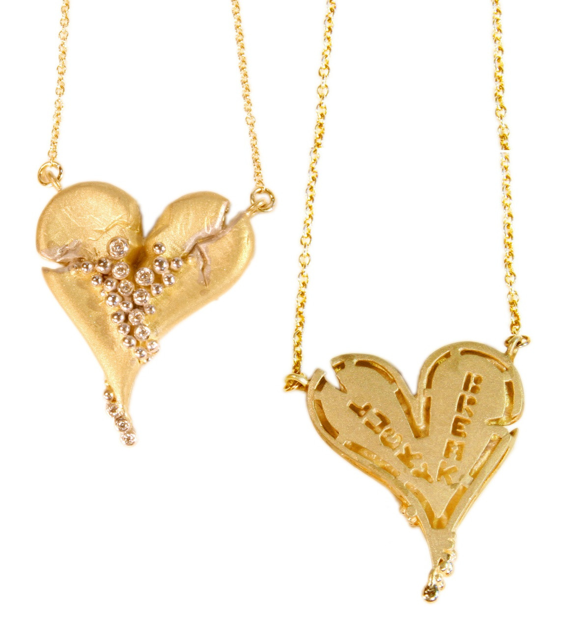 Hearts-Lucky Break Necklace-Medium-14K gold with diamonds