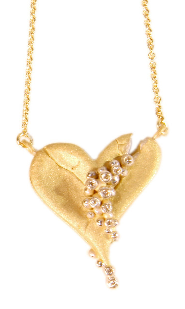 Hearts-Lucky Break Necklace-Small-18K with diamonds