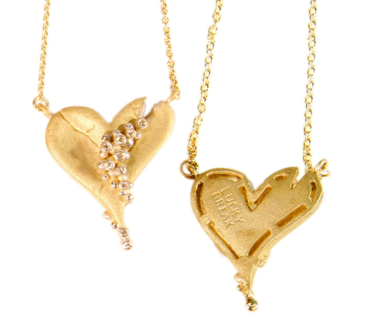 Hearts-Lucky Break Necklace-Small-14K with diamonds