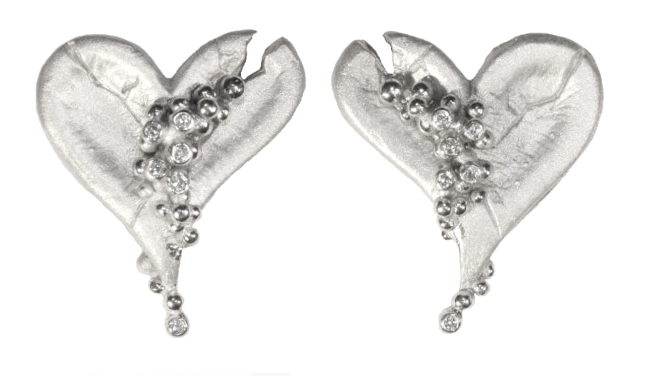 Hearts-Lucky Break Earrings-Sterling and diamonds with 18K or rhodium plate