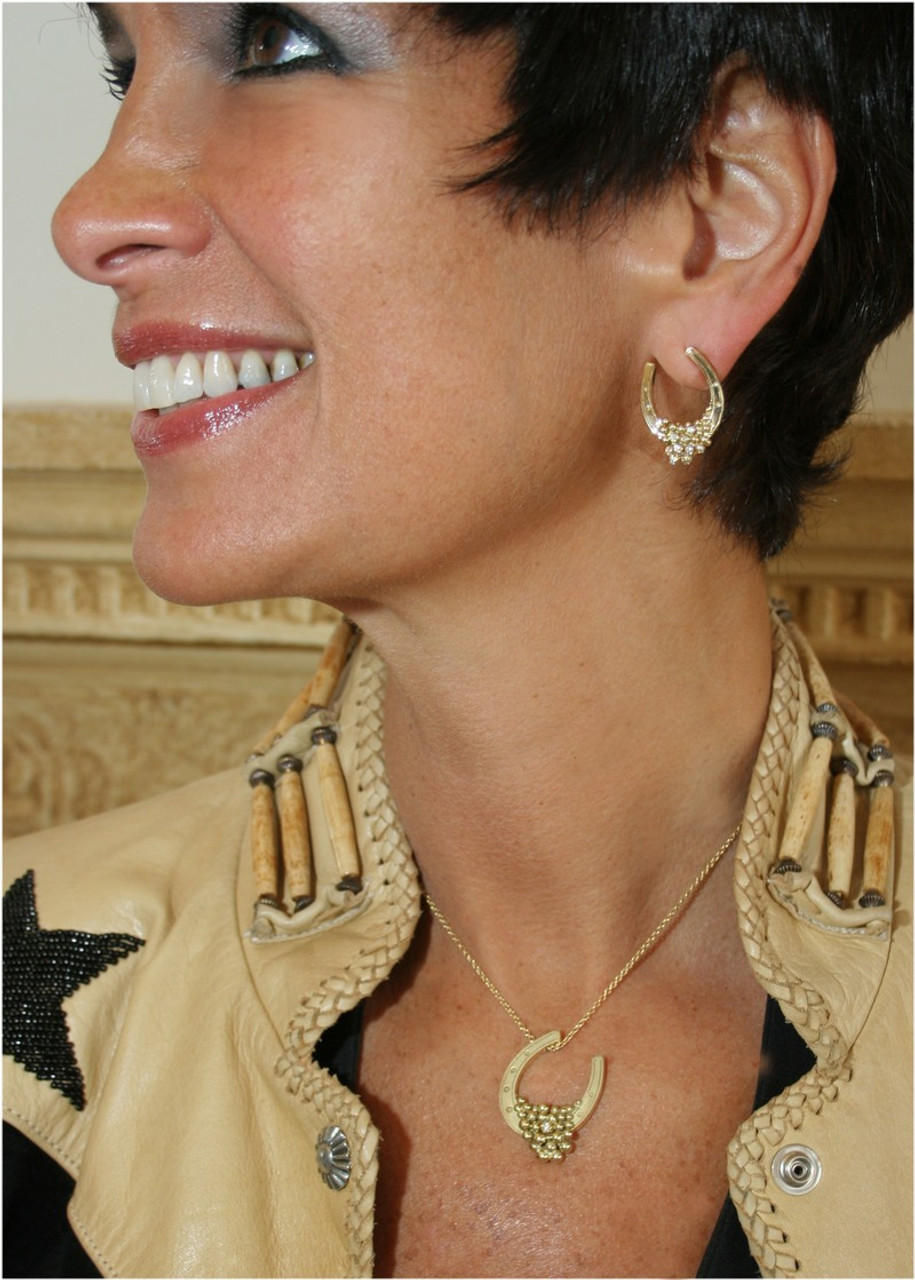 """Equestrian:  """"Lucky You"""" Earrings-14k gold with diamonds"""