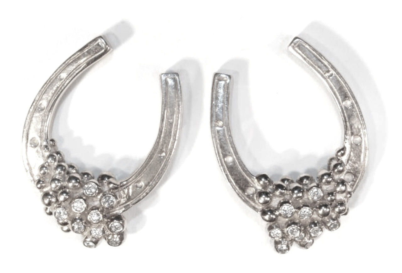 "Equestrian- ""Lucky You"" Earrings. Sterling silver, diamonds,  plate options"