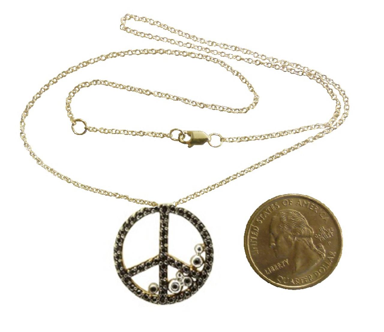 Peace in Abundance Pendant. Black Diamond Peace Symbol with Overflowing Diamond Dots . 18K gold