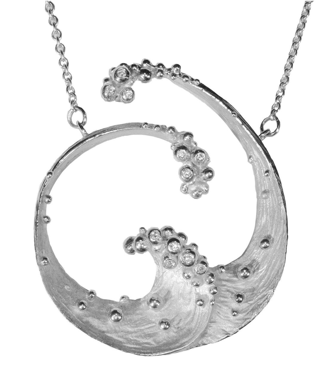 Ocean Necklace-Large-Sterling silver with diamonds- plate options available